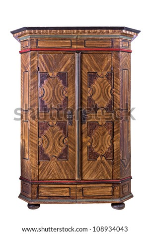 antique painted wooden wardrobe - stock photo