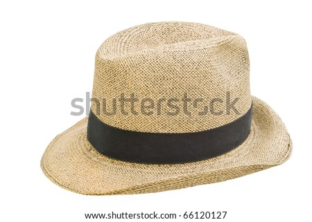 Antique panamanianhand made straw hat, isolated over white background, also known as Panama's jipijapa hat. - stock photo