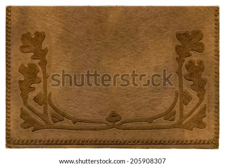 Antique paper photograph cover background with oak leaves - stock photo