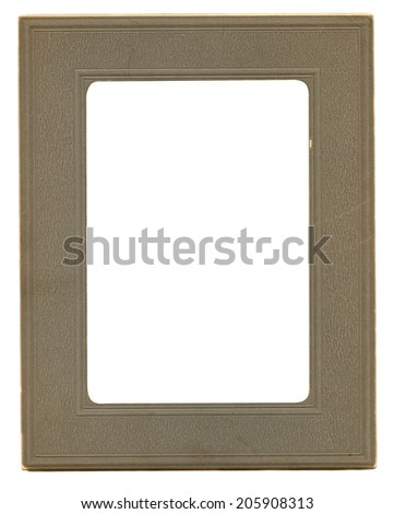 Antique paper photograph frame with interior clipping path - stock photo