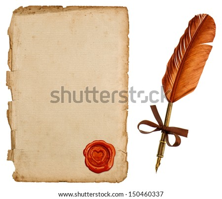 antique paper sheet and vintage ink pen isolated on white background. retro handwriting accessories for love letters - stock photo