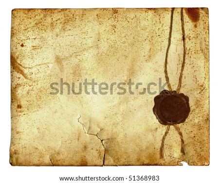 antique paper with wax seal  isolated over a white background - stock photo