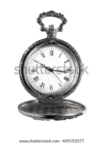 Antique pocket watch isolated on white - stock photo