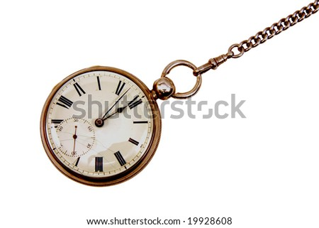 Antique pocket watch on chain isolated on a white background - stock photo
