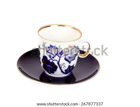 Antique porcelain cina  coffe blue  cup on white background - stock photo