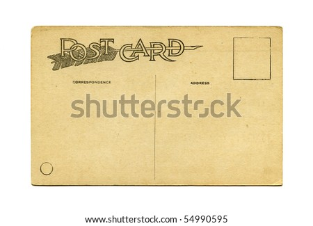 Antique Postcard back - stock photo