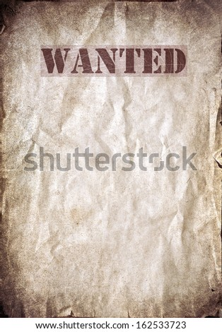 Antique poster - Wanted dead or alive - stock photo