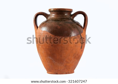 Antique pot isolated on a white background  - stock photo