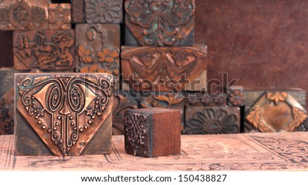 Antique Printing Blocks - stock photo