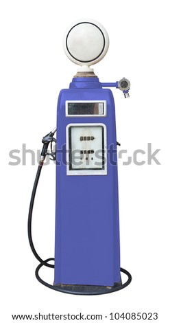 Antique purple gas pump on white with clipping path - stock photo