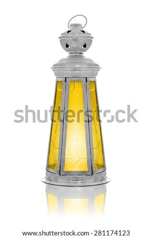 Antique Ramadan Lantern Isolated on White Background - stock photo