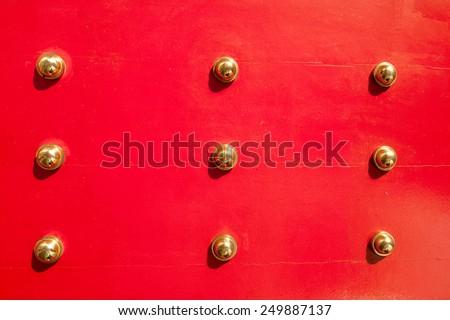 Antique Red Chinese door, Singapore - stock photo