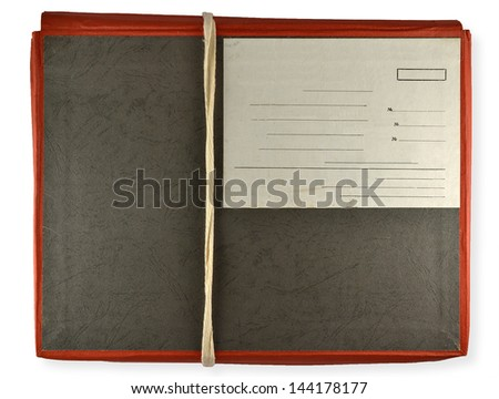 antique red folder isolated on white background - stock photo