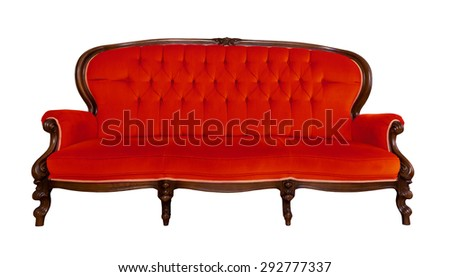 Antique red sofa isolated on white background - stock photo