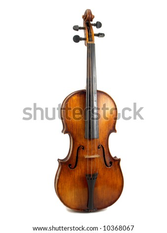 antique red violin on white background - stock photo