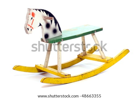 Antique rocking horse wooden toy isolated on white. - stock photo