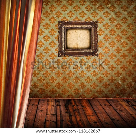 Antique room with curtain wooden floor and empty golden frame - stock photo