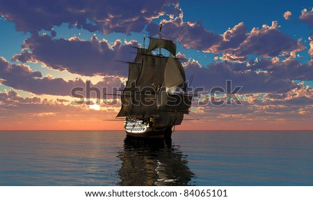Antique sailing ship at sea. - stock photo