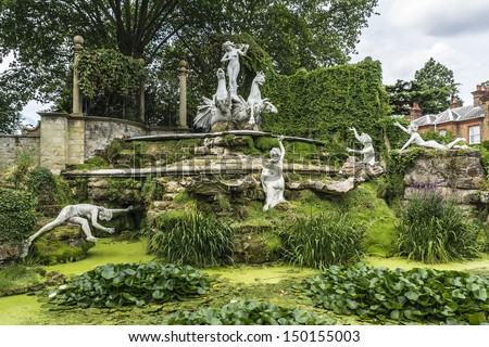 Antique sculptures in Garden near York House. York House - historic stately home in Twickenham, England in London Borough of Richmond upon Thames.York House dates to 1630. - stock photo
