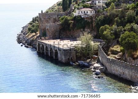 Antique shipyard in Alanya, Turkey - stock photo