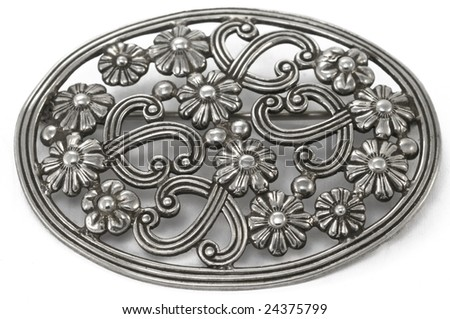 antique silver floral knot brooch - stock photo