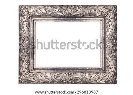 antique silver frame isolated on white background - stock photo