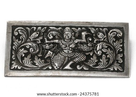 Antique silver Indian brooch - stock photo