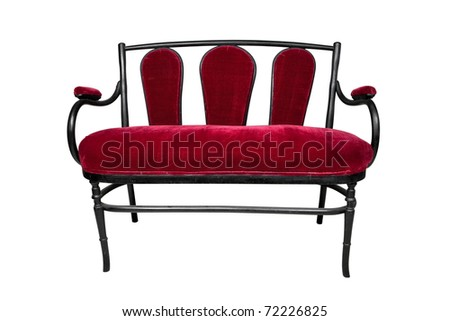 antique sofa, red bench - stock photo