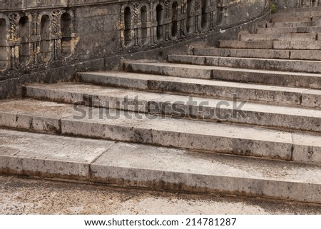 Antique stairs in Fontainebleau castle, France. - stock photo