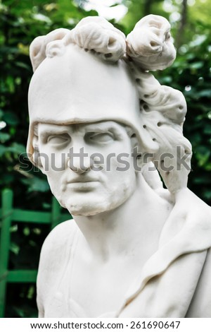 Antique statue of Greek god of war Ares (Mars in Roman mythology). Situated in Summer Garden in St. Petersburg, Russia. - stock photo