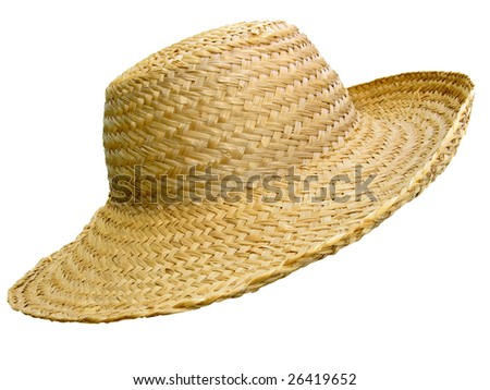 Antique straw hat, white background - stock photo