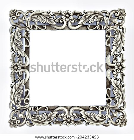 Antique style square gray metal frame isolated on white background with copy-space for text. With clipping path - stock photo