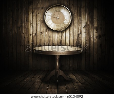 antique table and vintage watch in old grunge wooden room - stock photo