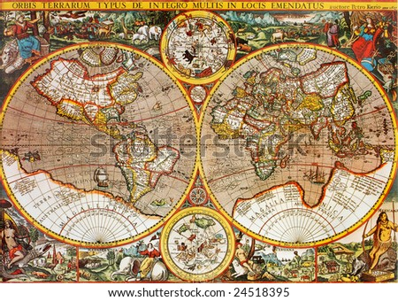 Antique 17th century world map macro closeup. Designed by Petro Kaerio in 1607. - stock photo