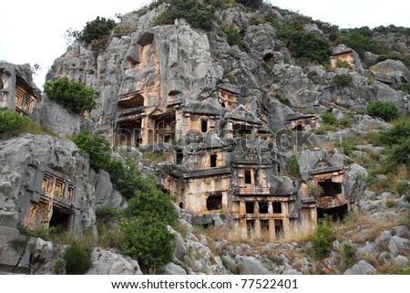 Antique  tombs in Myra town. Turkey. - stock photo
