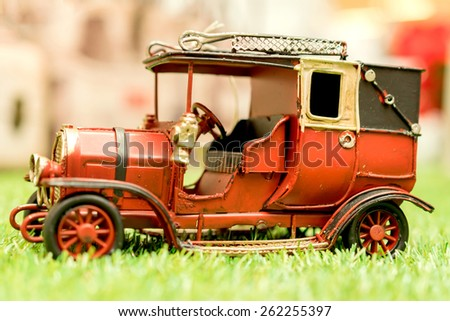 Antique Toy Car vintage style. - stock photo
