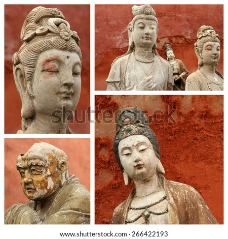 antique  traditional Buddhist female and male sculptures collection, - images with face closeups,  Beijing,China, Asia - stock photo