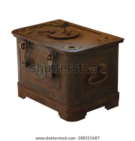 Antique treasure chest on white background - stock photo