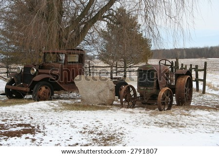 antique truck and tractor - stock photo