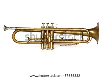 antique trumpet with mouthpiece isolated on white background - stock photo
