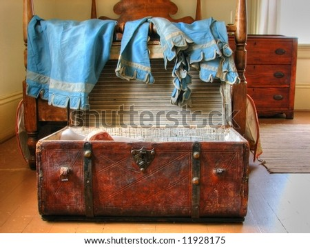 Antique Trunk and Linens - stock photo