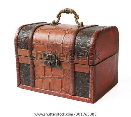 Antique trunk coated with iron isolated on white background - stock photo