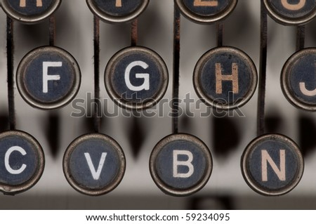 antique typewriter details - stock photo