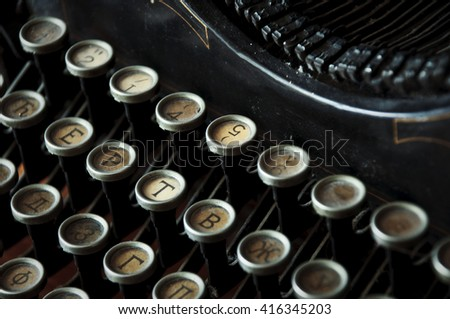 Antique typewriter keys close up,selective focus - stock photo