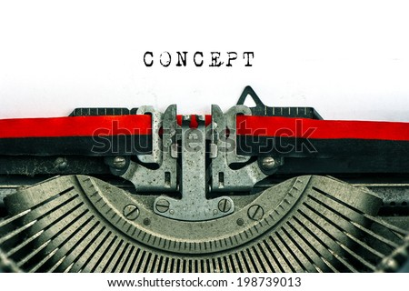 Antique typewriter with sample text CONCEPT. black text on white paper background - stock photo