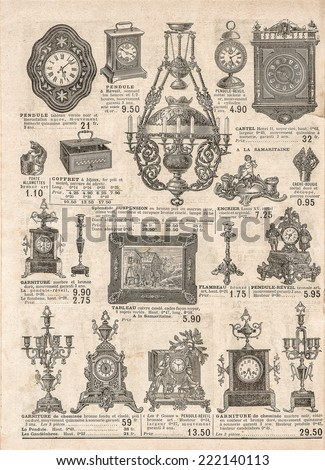 antique victorian objects and collectibles. old newspaper. retro shop advertising, page of very popular shopping catalog Samaritaine, Paris, France, circa 1897 - stock photo
