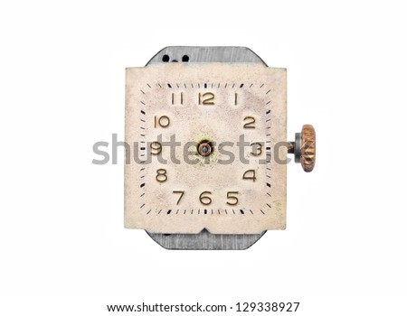Antique vintage watch, isolated on white background - stock photo