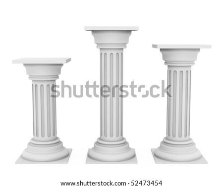 Antique white columns - stock photo