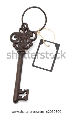 antique with blank card - stock photo