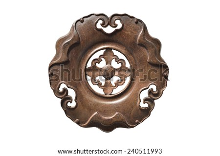 Antique wood tea pot plate - stock photo